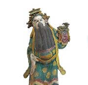 19th C Chinese Polychrome Stucco Roof Figure Black Bearded Man In Green