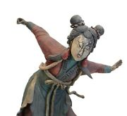 19th C Chinese Polychrome Stucco Roof Figure Woman In A Dynamic Pose