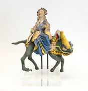 19th C Chinese Polychrome Stucco Roof Figure Elderly Man On The Back Of A Dragon