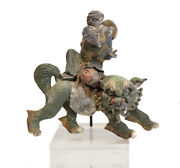 19th C Chinese Polychrome Stucco Roof Figure Figure Seated On A Dragon / Lion