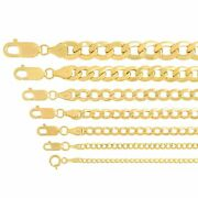 Real 14k Yellow Gold Cuban Link Curb Chain Pendant Necklace Sz 16-30