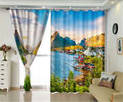 House Built Next Water 3d Curtains Blockout Photo Printing Curtains Drape Fabric