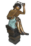 Girl Sitting On A Stack Of Books Reading A Book Bronze Statue - 17x 18x 36h