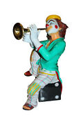 Colorful Clown Playing Instrument Bronze Statue - Size 18l X 13w X 31h.