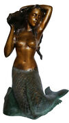 Mermaid Holding A Shell Bronze Statue/fountain - Size 26l X 18w X 36h.