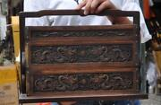 Old China Huanghuali Wood Hand-carved Dragon Statue Send Food Boxes Lunch Box