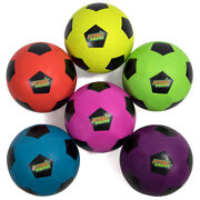 Set Of 6 Youth Size Neon Colors Soccer Balls With Air Pump Mesh Bag