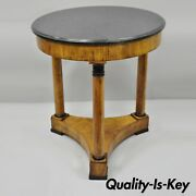 19th Century French Empire Style Round Marble Top Walnut Center Table W/ Columns