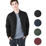 Menand039s Lightweight Ring Zipper Quilted Water Resistant Slim Bomber Jacket Jason