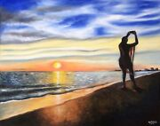Original Oil Painting Stretched Canvas Selfie Sunset Fort Myers Beach Modern Art