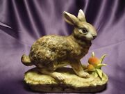 Lefton China Hand Painted Rabbit Hare With Mushrooms Porcelain Figure Kw5057