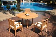 A-grade Teak 4pc Dining 60 Round Table 3 Lagos Arm Chair Set Outdoor Patio