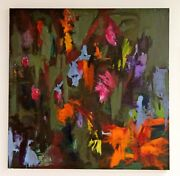 Modern Contemporary Acrylic On Canvas Abstract Painting Field Of Flowers Signed