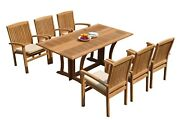 A-grade Teak 7pc Dining Warwick Folding Rectangle Table Wave Stacking Chair Set