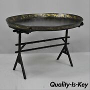 19th C. English Victorian Leather Tole Tray Coffee Table On Faux Bamboo Base