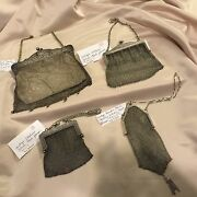 Vintage Sterling Silver Lot Of 4 Mesh Purses Great Condition