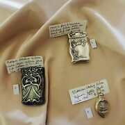 Lot Of 3 Gorgeous Antique Sterling Silver Vesta Case Box And Perfume Bottle
