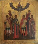Eastern Orthodox Russian Hand Painted Icon On A Thick Curved Wood Board
