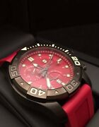 Victorinox Swiss Army Red Dial Dive Master 500 Menand039s Chronograph Watch Red Strap