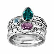 Silpada And039varsity Huesand039 Natural Amethyst And Blue Topaz Stack Rings Sterling Silver