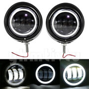 4.5and039and039 Auxiliary Fog Light Cover Housing Bracket Visor Trim Ring Fits Dyna Black