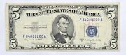 1953 B 5 United States Silver Certificate Us Paper Money Blue Seal