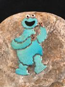 Collectible Zuni Sterling Silver Cookie Monster Inlay Pin Pendant Old Paw S395