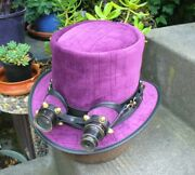 Leather And Purple Fabric Upholstery Effect Steampunk Top Hat W. Aviator Goggles