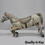 Antique Solid Wood Carved And Painted Carousel Style Horse 48 Long