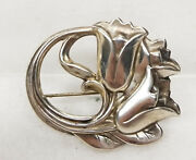 Antique Vintage Floral Sterling Silver Hallmarked Art Noveau Pin Jewelry Brooch