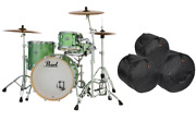 Pearl Masters Complete 24x14_13x9_16x16 Absinthe Sparkle Shell Pack Free Gigbags
