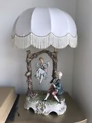 Vintage Set Of Two Real Capodimonte Italy Porcelain Hand Painted Table Lamp