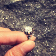 Antique Victorian Gold Buttercup White Sapphire Rock Crystal Cluster Ring