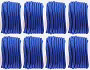 8 Blue Boat Dock Lines 1/2 Double Braid Marine Rope 4 Each 15and039 And 20and039 Feet