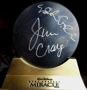 Jim Craig Eddie Cahill Dual Signed Puck W/ Stand 1980 Miracle On Ice Jsa Coa