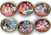 Franklin Mint Sean Connery 007 Set Of 6 Plates By Dick Bobwick - No Time 2 Die