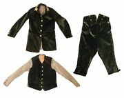 Antique Victorian 3 Piece Green Velvet Coachmanand039s Livery - Chest 34 And Waist 28