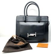 Todand039s Double T Black Smooth Leather Medium Satchel Womenand039s Handbag - New
