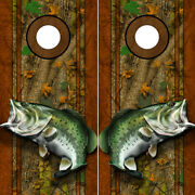 Cornhole Decals Wraps Fishing Graphics Bass Fishing Forest Camouflage 01lr