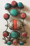 Very Rare And Large Pendant Turquoise Coraland Sterling Silver. Estate Find. Nice