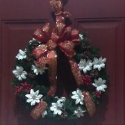 Country Christmas Wreath In Red And White For Front Door This Holiday 16 Round