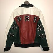 Supreme Arc Logo Studded Leather Jacket Fw18 Red Green 2018 Brand New Mens Large
