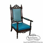19th Century American Victorian Renaissance Carved Rosewood Throne Arm Chair