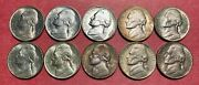 Jefferson Nickel Lot - 10 Coins - 1938-d And S - 1950-d - More - Free Shipping Usa