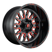 Fuel Stroke D612 22x10 6x135/6x139.7 Et10 Gloss Black With Candy Red Qty Of 4