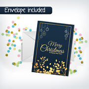 Merry Christmas Happy New Year Greeting Cards + Envelope Holiday Gift Postcards