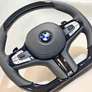Bmw G11 G12 G30 G01 G02 G05 Piano Black Wood And Leather Steering Wheel Complete
