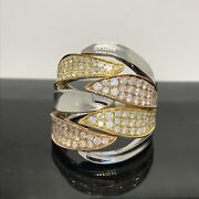 New Tri Color 18k White Yellow Rose Gold Diamond Ring 1.50ct Total Weight