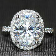 4.0ctw 14k White Gold Oval Cut F Color Moissanite 4 Prong Solitaire Wedding Ring