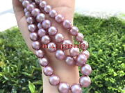 Top Luster Long 3512-13mm Natural South Sea Pink Purple Pearl Necklace 14k Gold